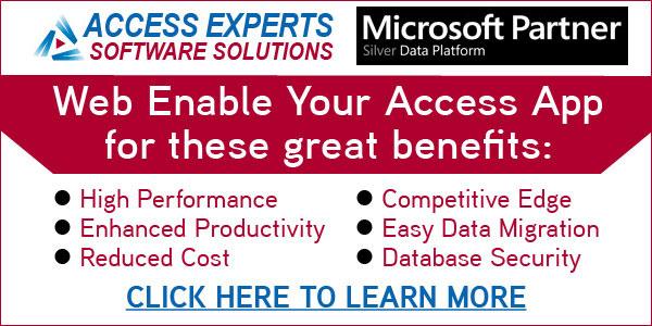 Web enable Microsoft Access database business benefits